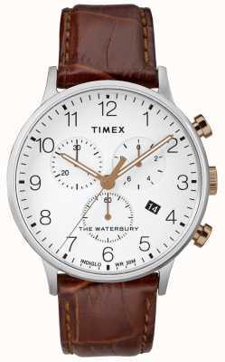 Timex Cadran blanc montre chronographe homme waterbury classic TW2R72100D7PF