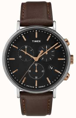 Timex Cadran noir bracelet Fairfield chronographe marron TW2T11500D7PF
