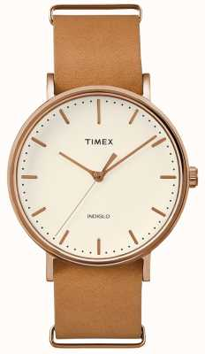 Timex Montre Fairfield à bracelet 3 aiguilles marron TWF3C8160UK