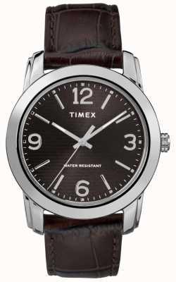 Timex Cadran noir en cuir crocodile pour homme TW2R86700