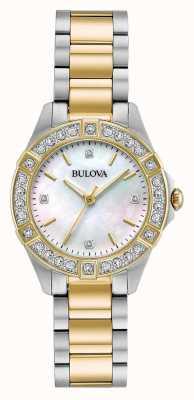 Bulova Montre à diamants deux tons pour femmes 98R236