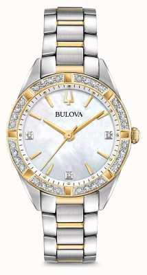 Bulova Montre à diamants deux tons pour femmes 98R263