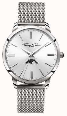 Thomas Sabo Homme rebelle au coeur esprit moonphase montre maille argent WA0324-201-201-42