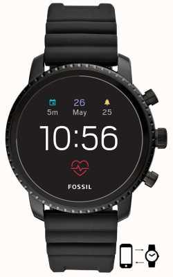 Fossil q gen 4 explorist hr montre en silicone noire FTW4018