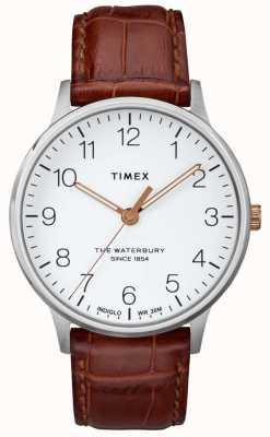 Timex Mens the waterbury classique cadran blanc avec aiguilles en or rose TW2R95900