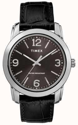 Timex Cadran noir classique en cuir noir avec bracelet en cuir TW2R86600