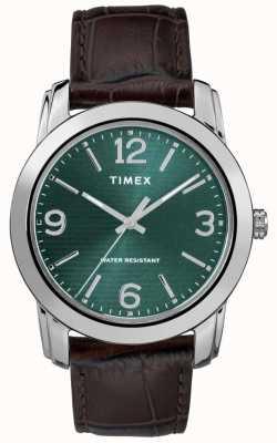 Timex Cadran en cuir marron classique pour homme, cadran vert TW2R86900