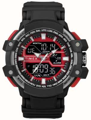 Timex Boitier noir 50 mm pour homme avec bracelet noir accent rouge TW5M22700
