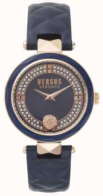 Versus Versace Cadran bleu en cuir bleu pour femme SPCD280017
