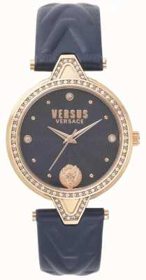 Versus Versace Womens v versus pierre set cadran bleu bracelet en cuir bleu SPCI340017