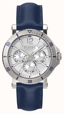 Versus Versace Bracelet homme en cuir steenberg argent cadran bleu SP52010018