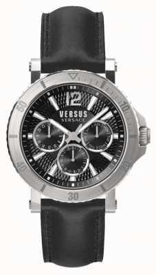 Versus Versace Bracelet en cuir noir avec cadran noir steenberg pour homme SP52020018