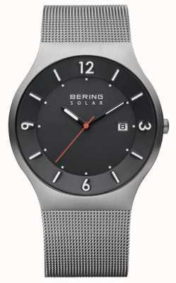 Bering Bracelet en acier inoxydable avec cadran gris solaire pour homme 14440-077