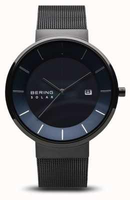 Bering Montre solaire pour homme, visage bleu, bracelet en maille noire 14639-227