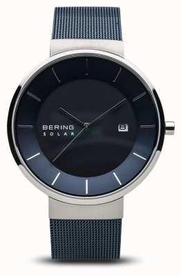 Bering Montre solaire pour homme, bracelet bleu en acier inoxydable à mailles bleues 14639-307