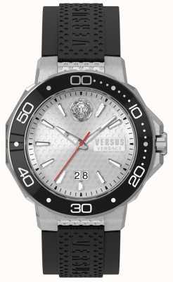 Versus Versace Bracelet en silicone noir kalk bay pour homme avec cadran argenté vSP05010018