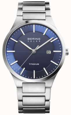 Bering Bracelet pour homme en argent avec titane, visage bleu solaire 15239-777