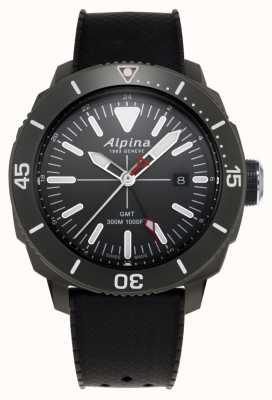 Alpina Bracelet en caoutchouc noir seastrong diver gmt pour homme AL-247LGG4TV6