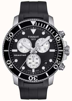 Tissot Mens seastar 1000 quartz chronographe noir / bracelet en caoutchouc T1204171705100