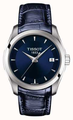 Tissot Bracelet femme en cuir bleu couturier avec cadran bleu T0352101604100