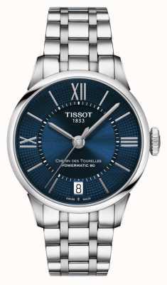 Tissot Cadran bleu du chemin des tourelles powermatic 80 en acier inoxydable T0992071104800