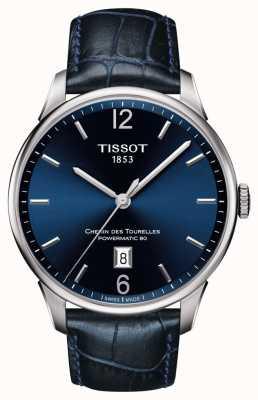 Tissot Bracelet en cuir bleu chemin des tourelles homme cadran bleu T0994071604700