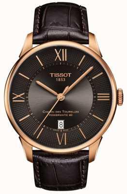 Tissot Bracelet en cuir marron pour homme, chemin des tourelles, boîtier en or rose T0994073644800