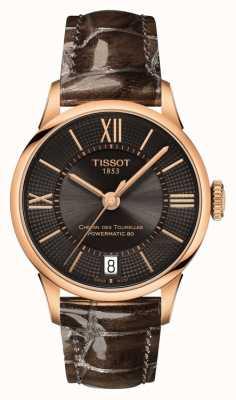 Tissot Cadran en cuir marron chemin des tourelles femme cadran noir T0992073644800