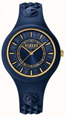 Versus Versace Bracelet en silicone bleu îlot de feu cadran bleu SOQ090016