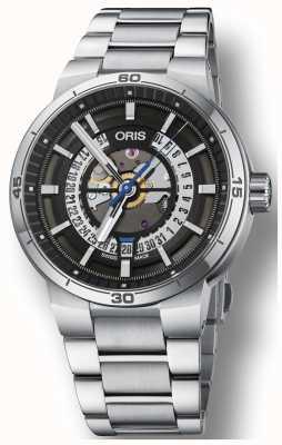 Oris Williams tt1 squelette de bracelet en acier inoxydable date du moteur 01 733 7752 4124-07 8 24 08