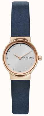 Skagen Montre freja pour femme, bracelet en cuir bleu, face argentée SKW2744