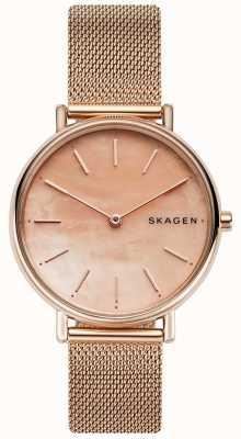 Skagen Dames Signatur Bracelet en acier inoxydable or rose Cadran rose SKW2732