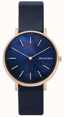 Skagen Bracelet en cuir bleu Signatur pour femme SKW2731