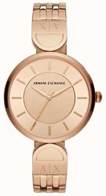 Armani Exchange Dames robe montre or rose AX5328