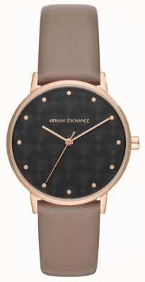 Armani Exchange Armani échange dames robe montre bracelet en cuir marron AX5553
