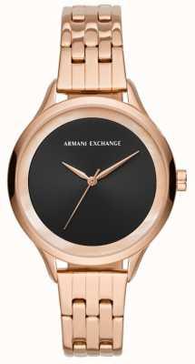 Armani Exchange Dames robe montre or rose AX5606