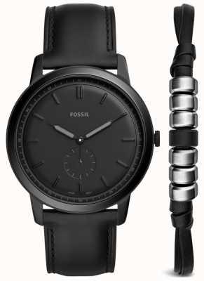 Fossil Montre homme en cuir noir FS5500SET