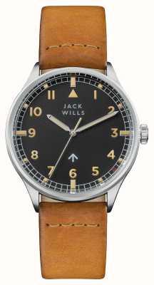 Jack Wills Bracelet en cuir marron cadran noir pour homme JW001CASS