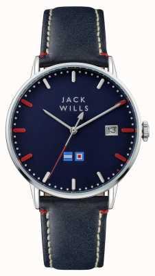 Jack Wills Bracelet en cuir bleu avec cadran bleu pour homme JW002BLSS