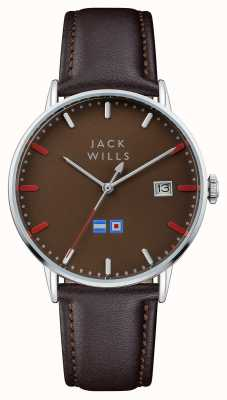 Jack Wills Bracelet en cuir marron avec cadran brun JW002BRBR