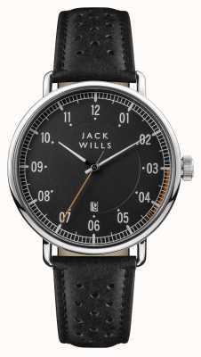 Jack Wills Bracelet pour homme avec cadran noir et cuir noir JW003BKBK