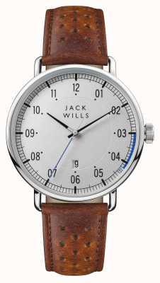 Jack Wills Bracelet en cuir marron pour homme, cadran argenté JW003SLBR