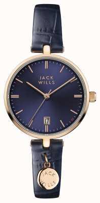 Jack Wills Bracelet en cuir bleu pour femme avec cadran bleu bennett JW005BLRG