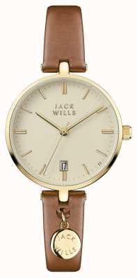 Jack Wills Bracelet en cuir marron crème bennett pour femme JW005CMGD