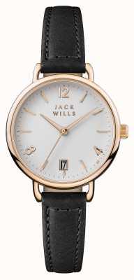 Jack Wills Bracelet en cuir noir pour femmes avec cadran blanc onslow JW006BKRS