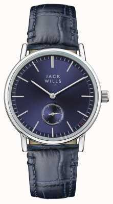 Jack Wills Bracelet en cuir bleu à cadran bleu pour femme JW007BLSS