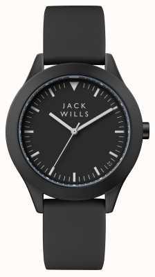 Jack Wills Bracelet en silicone noir pour femme, cadran noir JW008BKBK