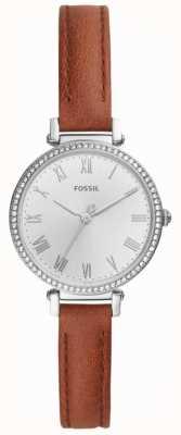 Fossil Cadran blanc en acier inoxydable pour femme en cuir marron ES4446