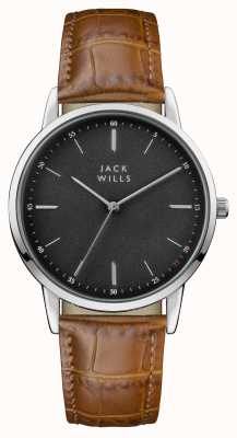 Jack Wills Bracelet en cuir marron avec cadran noir JW011BKBR