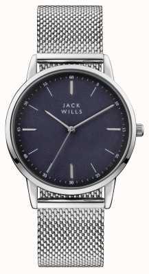 Jack Wills Bracelet maille d'acier inoxydable cadran bleu fortescue Mens JW011SSBL